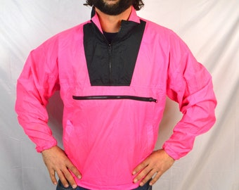 Vintage 80s Neon Pink Jacket Windbreaker Pullover - Seattle Blues