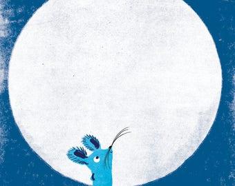 Mouse & Moon A4 giclée print