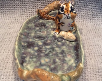 Chimpmunk tray handmade in US from a lump of clay and sold by outsider Artist