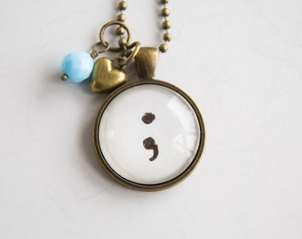 Semicolon Necklace - Word Jewelry - Inspirational Pendant - Text Jewelry - Survivor Jewelry - Inspire - Gift for Women
