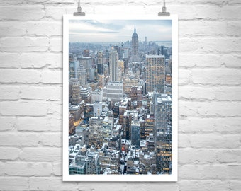 New York City Skyline Picture, NYC Art Print, Manhattan Photo, New York Cityscape, New York Winter Art, NYC Gift, Empire State Building Art