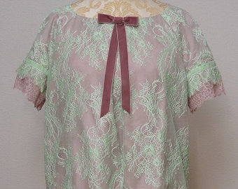 Lace blouse in mint green/powder pink pastels, art deco style, modern vintage