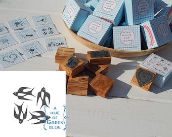 Greece Inspired Olive Wood Stamp in Box - Greek Swallows