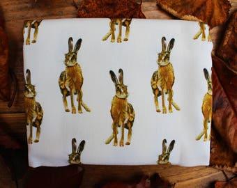 Hare pattern tea towel
