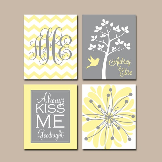 YELLOW GRAY Nursery Wall Art CANVAS or Prints Baby Girl