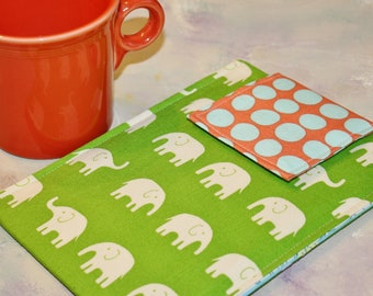 Kindle Sleeve, Kindle Paperwhite Sleeve, Nook Sleeve, Nook Color, Ereader, Gadget Case - Elephant Walk in Green Dots