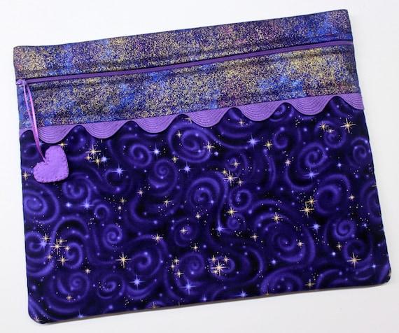 Purple Metallic Gold Star Gazer Cross Stitch Embroidery Project Bag