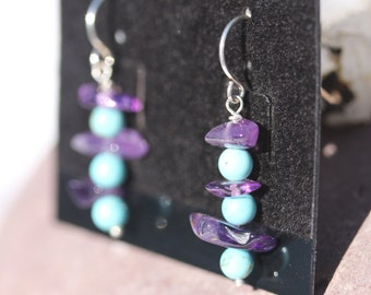 Small Dangling Turquoise & Amethyst Earrings Designed in Sterling Silver