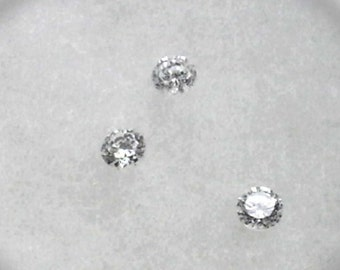 Lot of 3 CZs 5mm White Cubic Zirconia Lot of 3