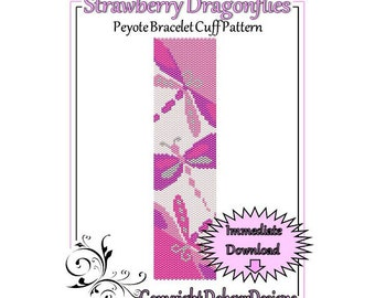 Bead Pattern Peyote(Bracelet Cuff)-Strawberry Dragonflies