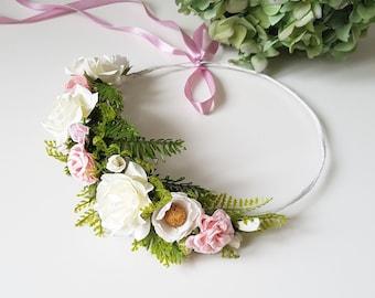 Pink White flower crown Maternity pink flower crown Pink bridal headpiece Bridesmaid crown Boho Floral accessories Woodland boho headpiece