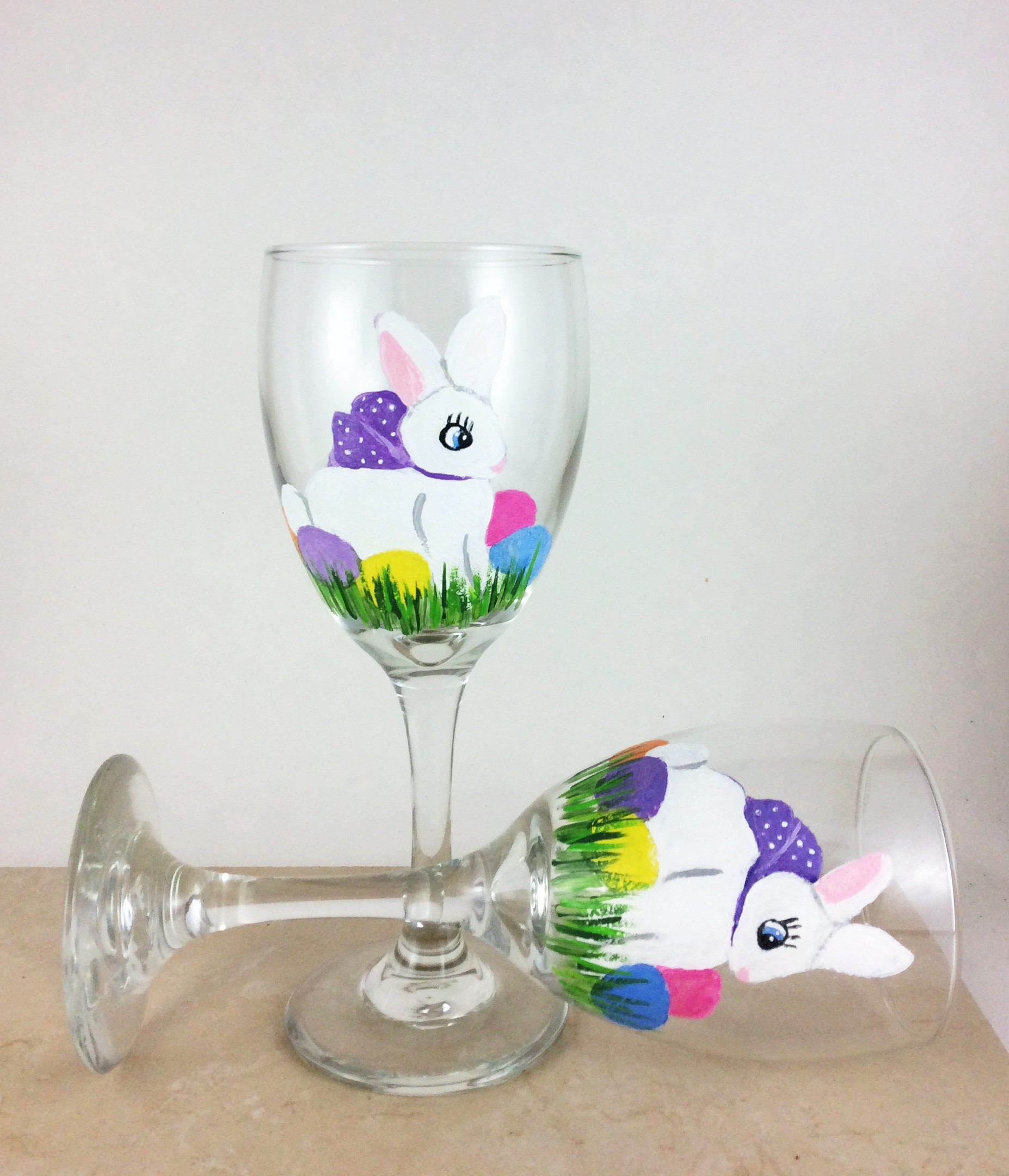 Easter wine glasses easter gift easter decor bunny wine glass shipping negle Images