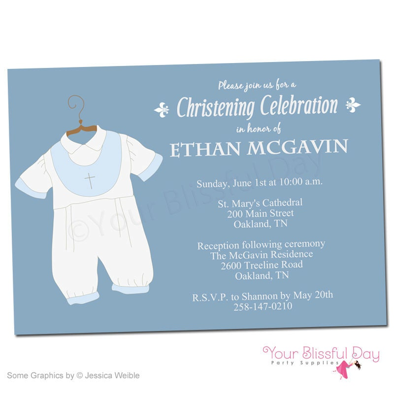 Baby Boy Christening/Baptism Personalized Printable Party