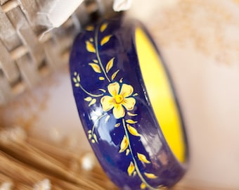 Wooden hand painted bracelet with flowers, big floral bracelet, blue and yellow bracelet, gift for her: Field