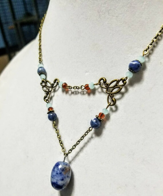 Meditation Stone Necklace: Find Your Voice - Sodalite, Blue Lace Agate