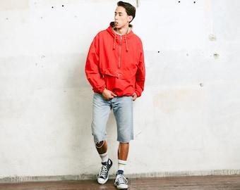 Mens Smock Windbreaker Jacket . Vintage 90s Clothing Red Jacket Mens Gift for Him Outerwear Smock Jacket . size Extra LargeXL