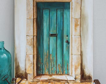 painting of a patinated turquoise door in trompe l'oeil effect