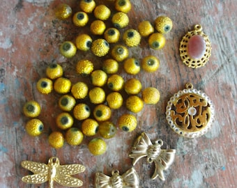 Potpourri Bead lot, Yellow and Gold destash lot, Dragonfly, Bows, vintage and new beads, Girly, earrings, Pendants