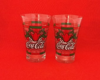 Coca-Cola Tiffany Flared Tulip Glasses, Set of Two (2)