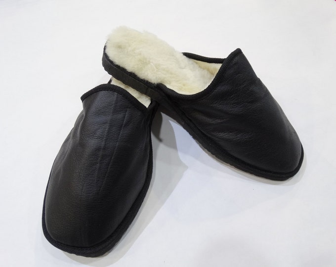 Valentines gift,Black Slippers,Fur Slippers F448