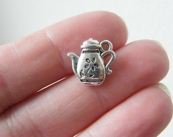 8 Teapot charms antique silver tone FD49