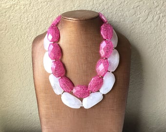 Pink & White Necklace, multi strand jewelry, big beaded chunky statement necklace, pink necklace, bridesmaid necklace, bib necklace, pink