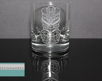 Set of 4 Hand Etched Premium Smiling Tiki Whiskey Bourbon Rocks Glasses