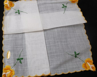 Embroidered Handkerchief, Made in Switzerland, Unused, Yellow and White Hanky