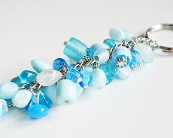 Long blue ceramic keyring