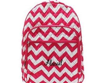 Monogrammed Chevron Backpack Monogrammed Chevron Quilted Backpack Personalized Chevron Backpack Chevron Pink Bag