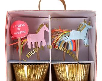 Unicorn Cupcake Kit | Unicorn Cupcake Toppers by Meri Meri