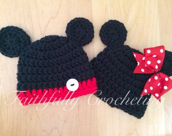 Newborn twin hats.. Mouse hats... Photography prop... Ready to ship