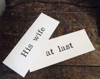 Vintage Old School Flash Cards-HIS WIFE At LAST-Ivory Background Stark Black Letters-Print-Retro School Supplies-Vintage School Days