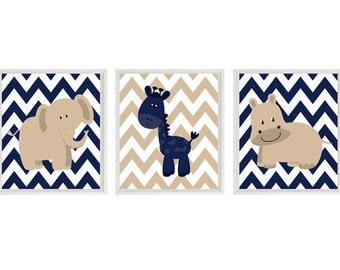 Nursery Art  Elephant Giraffe Hippo Safari Wall Art - Navy Blue Tan Chevron  Print Set   - Baby Boy Room Home Decor Wall Art