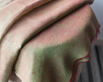 Linen Scarf / Lime Green Red / Unisex Scarf