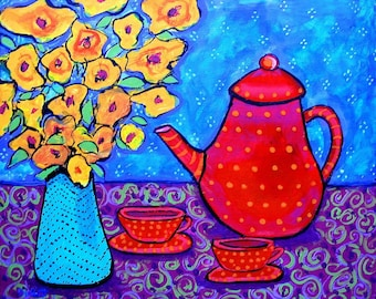 Bohemian Tea teapot,red,scarlet,flowers,PRINT