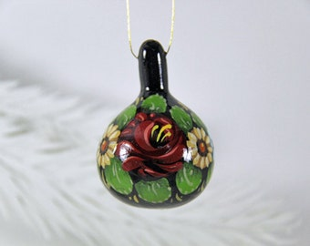 Hand Painted Folk Art Flowers, Natural Gourd Ornament 51, Christmas Ornament, Small Painted Gourd, Earth Tone Bouquet, Small Painted Gourd