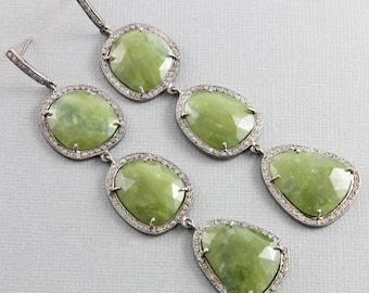 Pave Diamond Earrings, Pave Diamond and Vesonite Rose Cut Earrings, Diamond Vesonite Rose Cut Earrings, Diamond Earrings (DER-118)