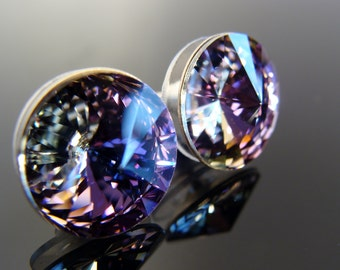 Sterling Silver Swarovski Crystal 12 mm Rivoli Vitrail Light Post Stud Earrings