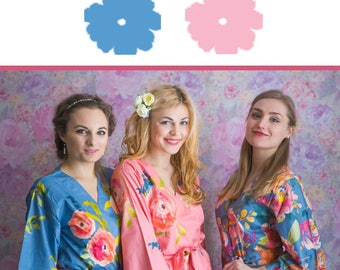 Dusty Blue and Rose Pink Wedding Color Bridesmaids Robes - Premium Soft Rayon - Wider Belt and Lapels - Wider Kimono sleeves