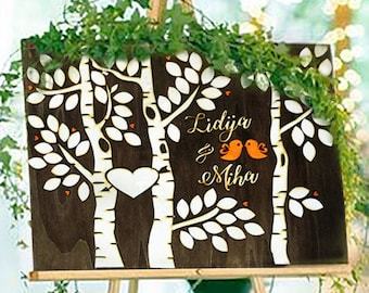 Wooden guestbook, Wedding Guest Book Alternative 3D Guestbook Wood Tree of Hearts  Wedding Decor Rustic Guest Book