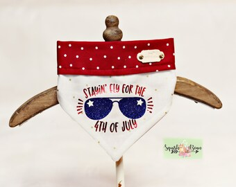 Stayin' Fly for the Fourth of July Patriotic Pet Bandana-Reversible!