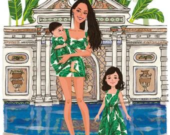 Custom Mom & Kids Portrait Custom Family Illustration Family Art Baby Daughter Son Portrait Mother's day Gift Birthday Gift