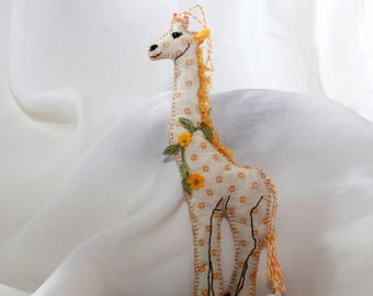 April the Giraffe Quilty Criiter - OOAK, Folk Art, Novelty, Lg Sz, Ornament, Gift, Mothers Day