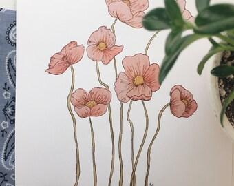 Poppies Print, Watercolor Print, Floral Art, Botanical Poster, Poppy Wall Art, Minimalist Decor