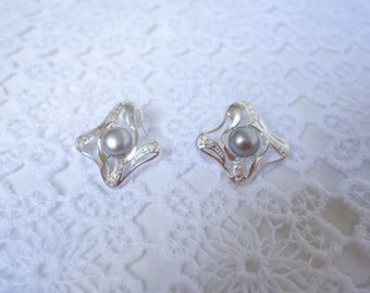 Earrings silver Coralie and pearls