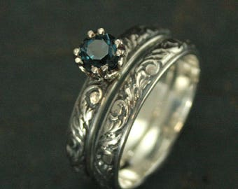London Blue Topaz Bridal Set~Antique Style Ring~Vintage Style Ring~Baroque Bridal Set~Double Prong Setting~Birthstone Ring~Gift for Her