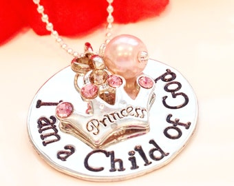 I am a Child of God Hand Stamped Baptism Necklace-Religious Necklace-LDS Gift-Baptism Necklace-LDS Necklace-Baptism Gift