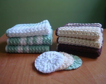 Coffee Lover Gift | Crocheted Face Wash Cloths Dish Cloths in Chocolate Brown and Cream, Set of 3
