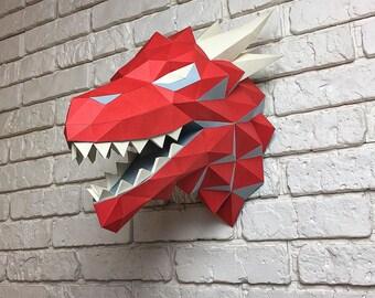 Game of Thrones, Winter is coming, Paper Dragon, Dragon Head, Papercraft Dragon, House Targaryen, animal head, Home Decoration, Printable